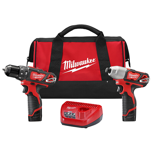Milwaukee® M12™ 2497-22 2-Tool Cordless Combination Kit, Tools: Hammer Drill, Impact Driver, 12 VDC, 1.5 Ah Lithium-Ion Battery, Keyed Blade