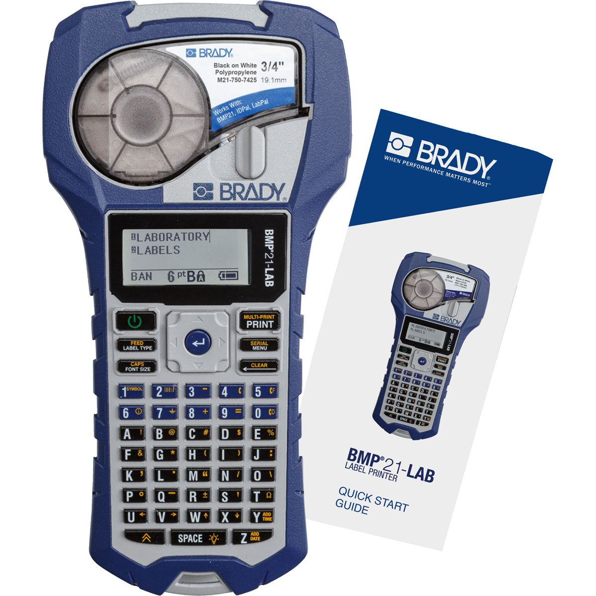 Brady® BMP21-LAB BMP®21 Barcode Capable Single Color Laboratory Label Printer, Thermal Transfer Print, 6 to 40 Point Font, M-AC-110937 AC Power/(6) BMP21-PLUS-BAT AA Rechargeable Lithium-Ion Battery, LCD Display