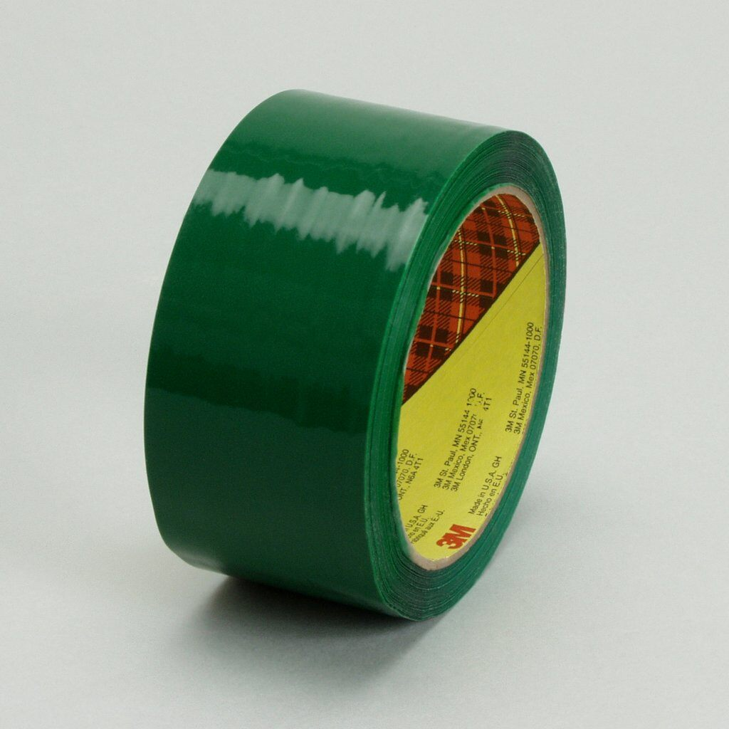 3M™ 371-Green-48mmx100m Box Sealing Tape, 100 m L x 48 mm W, 1.8 mil THK, Hot Melt Synthetic Rubber Resin Adhesive, Polypropylene Film Backing, Green