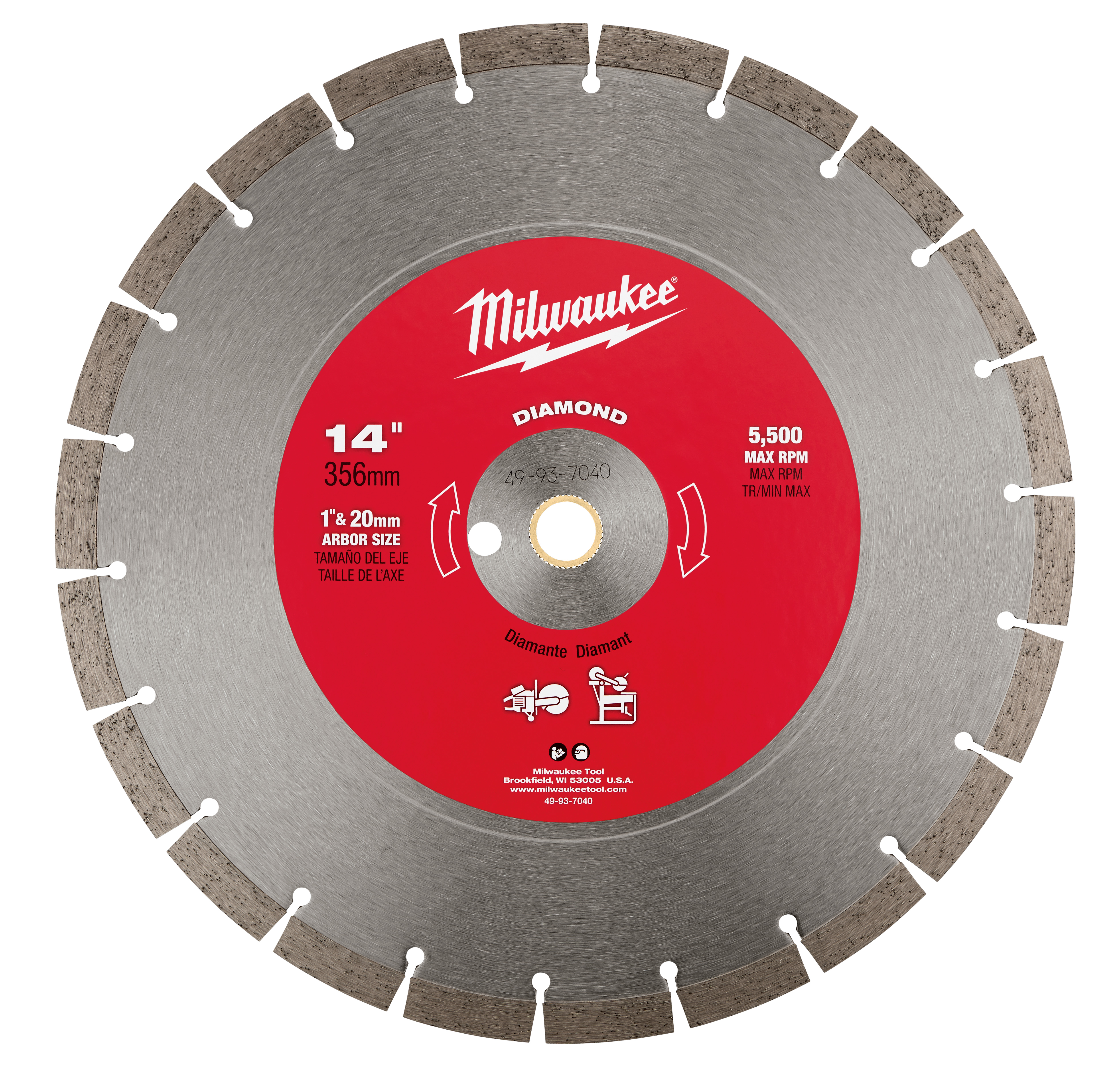 Milwaukee® 49-93-7040 Premium Segmented Circular Diamond Saw Blade, 14 in Dia Blade, 1 in, 20 mm Arbor/Shank, Dry/Wet Cutting