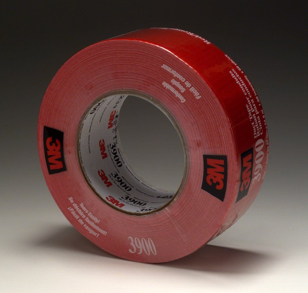 3M™ 3900-Red Multi-Purpose Duct Tape, 54.8 m L x 48 mm W, 7.6 mil THK, Rubber Adhesive, Polyethylene Over Cloth Scrim Backing, Red