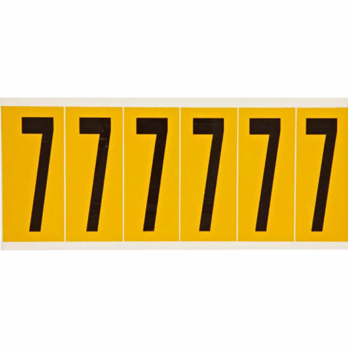 Brady® 1550-7 Non-Reflective Standard Number Label, 2.938 in H Black 7 Character, Yellow Background, B-946 Vinyl
