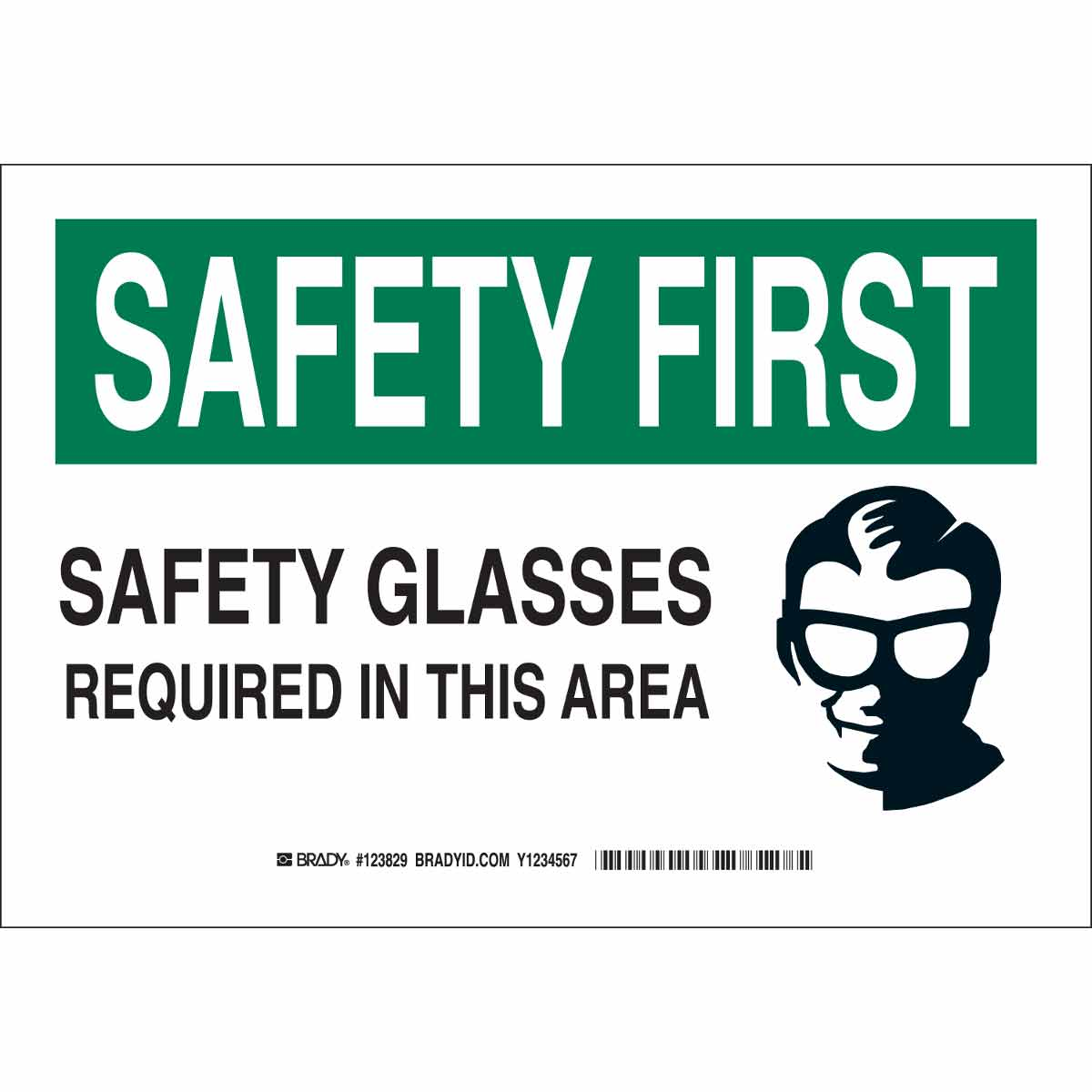 Brady® 123828 Rectangular Personal Protection Sign, 7 in H x 10 in W, Black/Green on White, B-401 Polystyrene, Corner Holes Mount