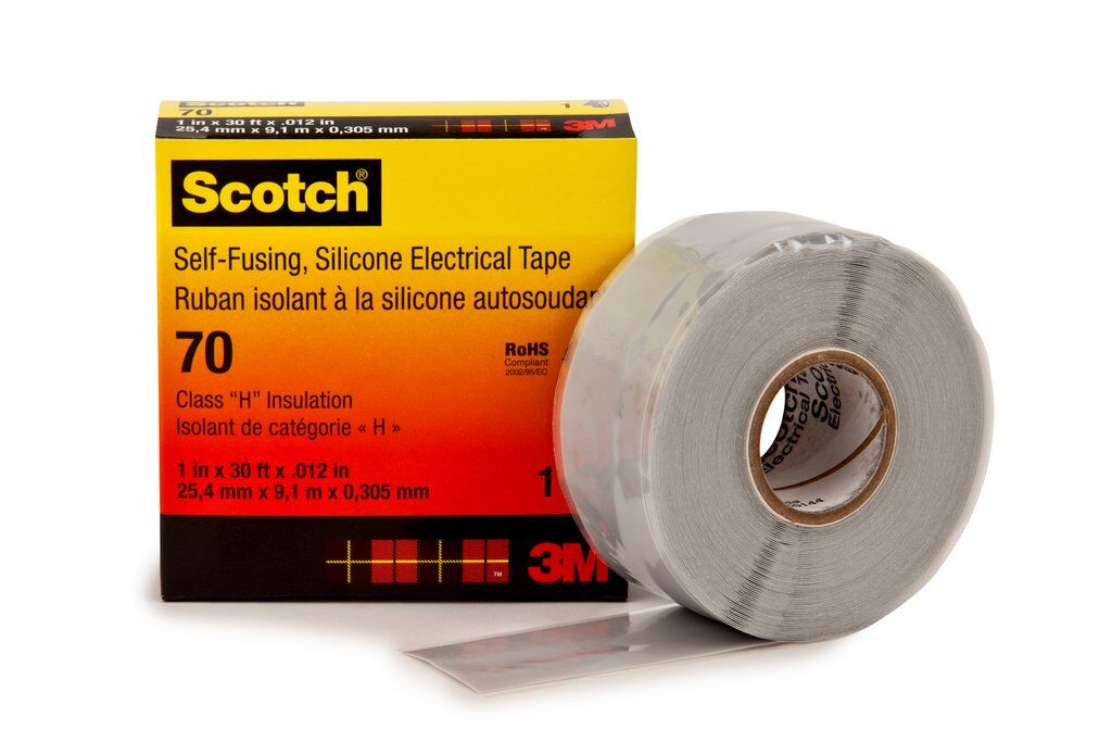 3M™ 70-1x30FT Insulating and Splicing Premium Electrical Tape, 30 ft L x 1 in W, 12 mil THK, Inorganic Silicon Rubber, Silicon Rubber Backing, Sky Blue Gray