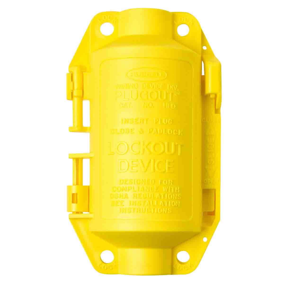 Brady® PLUGOUT® 65695 Encasing Electrical Risk Small Plug Lockout Device, For Use With Hubbell Plugs, 1 Padlocks, 0.37 in Dia Max Padlock Shackle, Polypropylene, Yellow