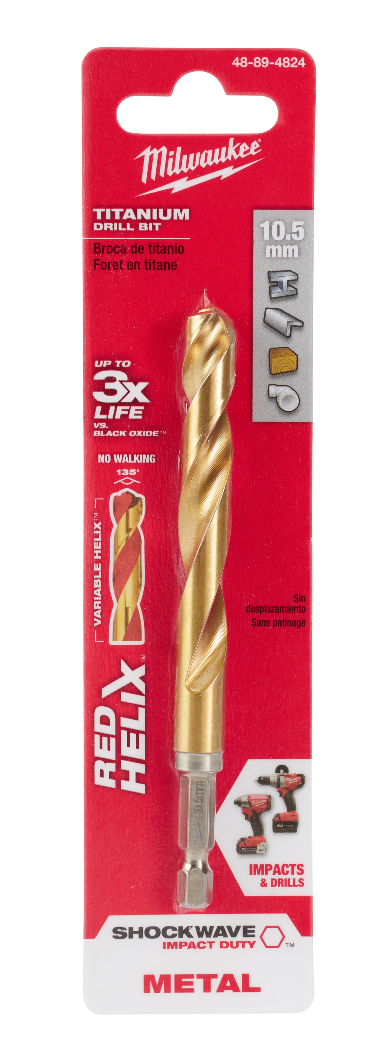 Milwaukee® SHOCKWAVE™ RED HELIX™ 48-89-4824 Hex Shank Impact Drill Bit, 10.5 mm Drill - Metric, 0.4134 in Drill - Decimal Inch, (2