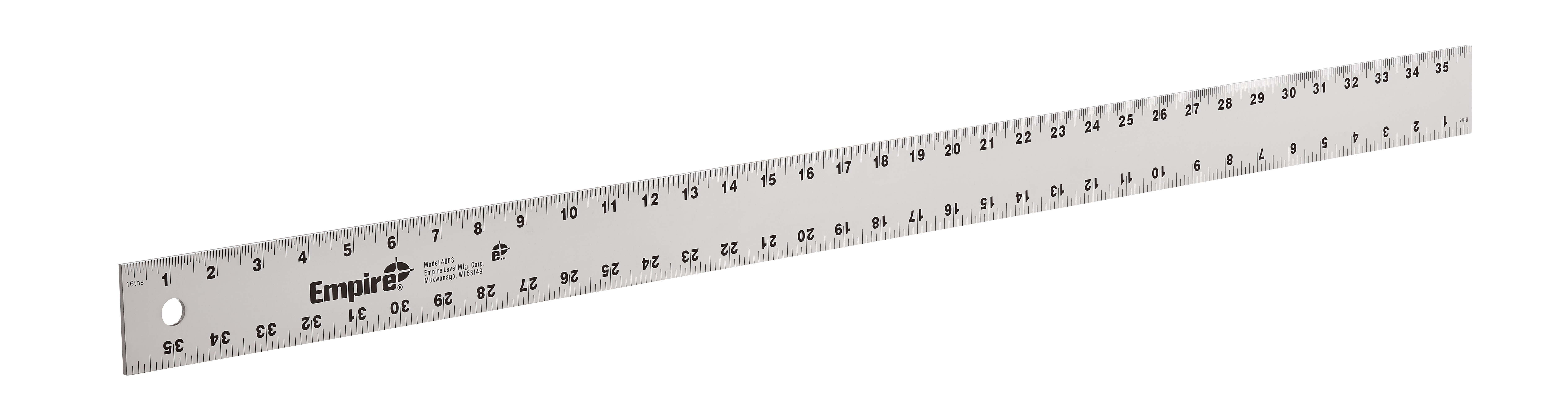 Milwaukee® Empire® 4003 Heavy Duty Straight Edge Ruler, Imperial Measuring System, Graduations 1/16 in, Aluminum
