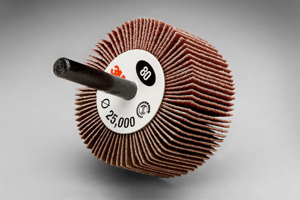 3M™ 051144-14624 Type 83 Mounted Coated Flap Wheel, 2 in Dia, 1 in W Face, 1/4 in Dia Shank, 80 Grit, Medium Grade, Aluminum Oxide Abrasive