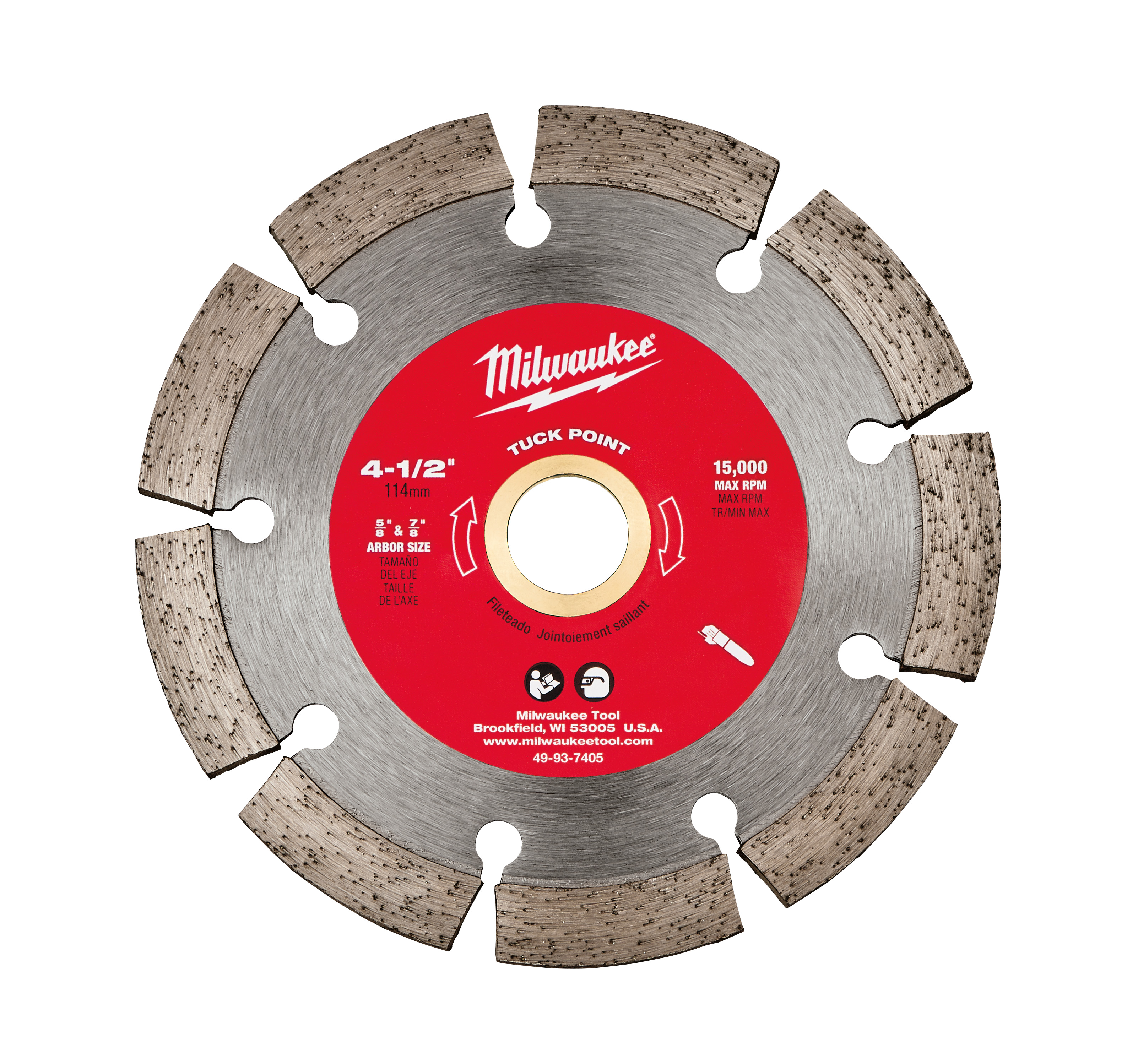 Milwaukee® 49-93-7405 Segmented Diamond Blade, 4-1/2 in Dia Blade, 1/4 in W, 5/8 to 7/8 in Arbor/Shank, Dry/Wet Cutting