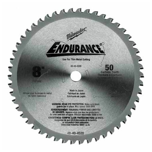 Milwaukee® 48-40-4520 Circular Saw Blade, 8 in Dia x 0.073 in THK, 5/8 in Arbor, Hardened Steel Blade, 50 Teeth