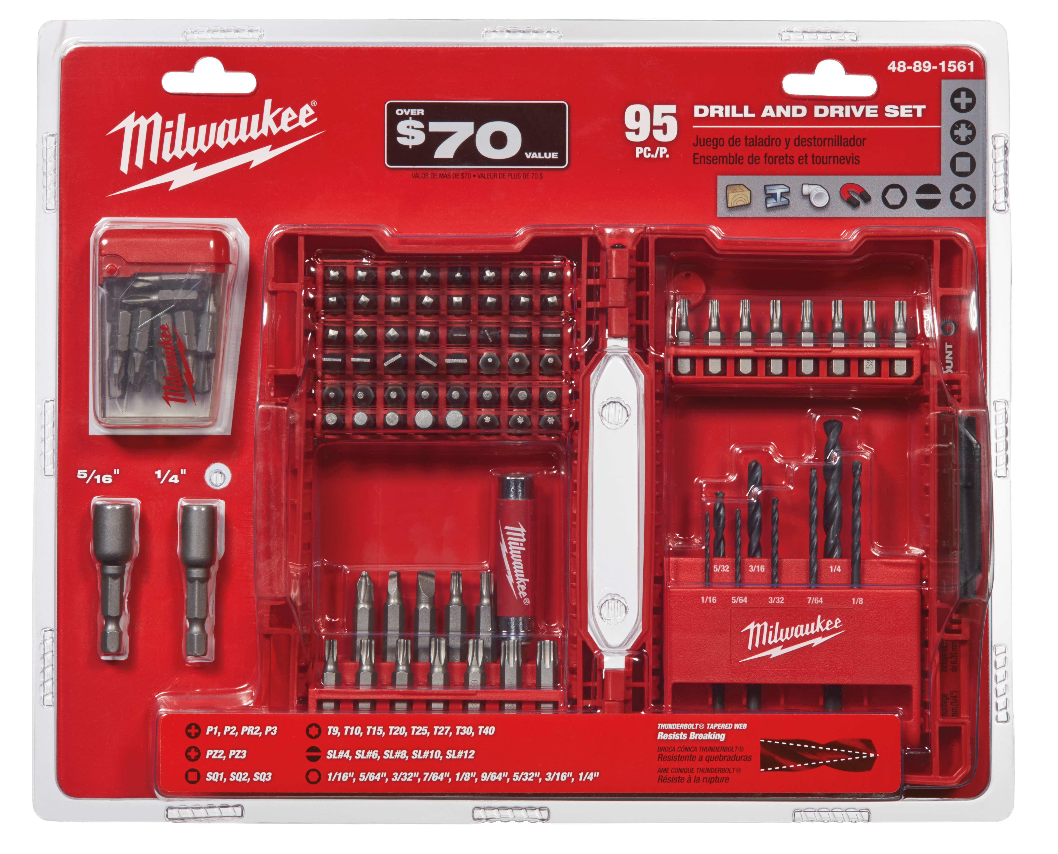 Milwaukee® 48-89-1561 Drill and Drive Bit Set, Imperial, 95 Pieces, S2 Tool Steel, Black Oxide