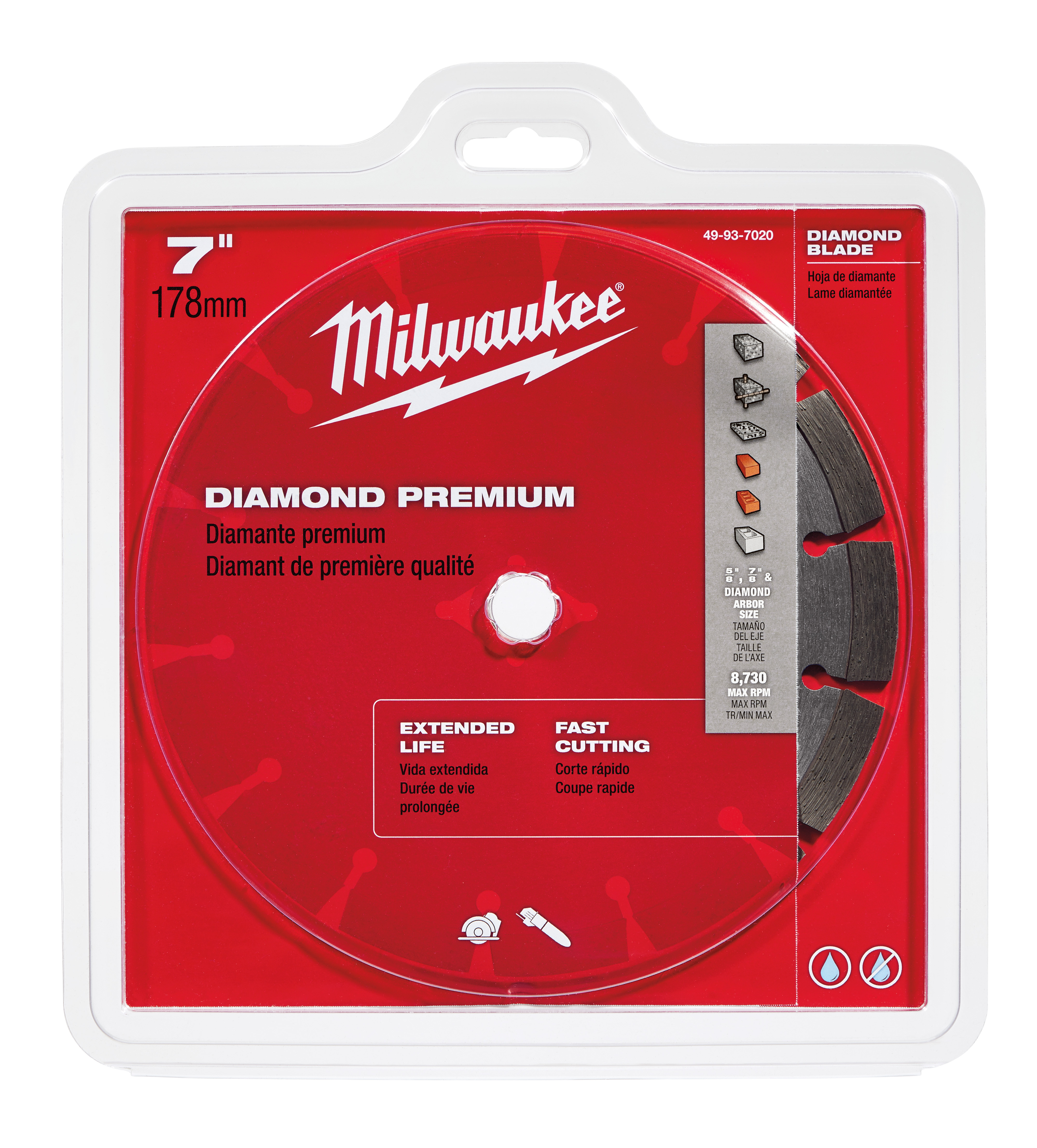 Milwaukee® 49-93-7020 Premium Segmented Circular Diamond Saw Blade, 7 in Dia Blade, 5/8 in, 7/8 in Arbor/Shank, Dry/Wet Cutting