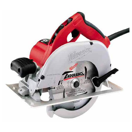 Milwaukee® 6391-21 Corded Circular Saw Kit, 7-1/4 in Dia Blade, 5/8 in Arbor/Shank, 1-13/16 in at 45 deg, 1-11/16 in at 50 deg, 2-7/16 in at 90 deg, 2-9/16 in at 90 deg Cutting, Left Blade Side