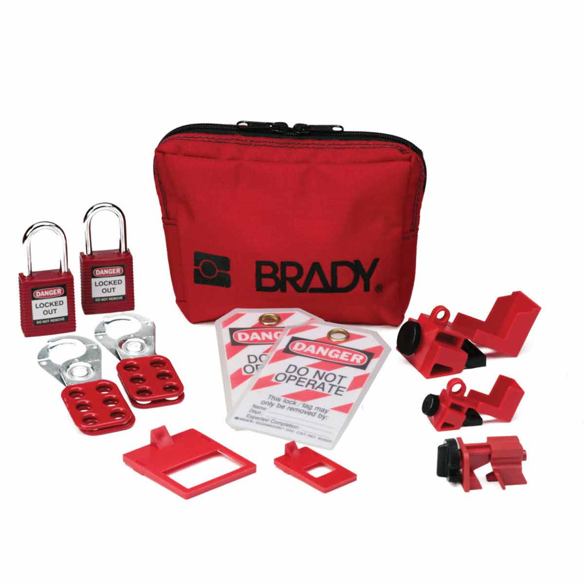 Brady® 105967 Electrical Risk Portable Lockout Kit, For Use With Circuit Breaker, 2 Padlocks, Nylon, Black on Red