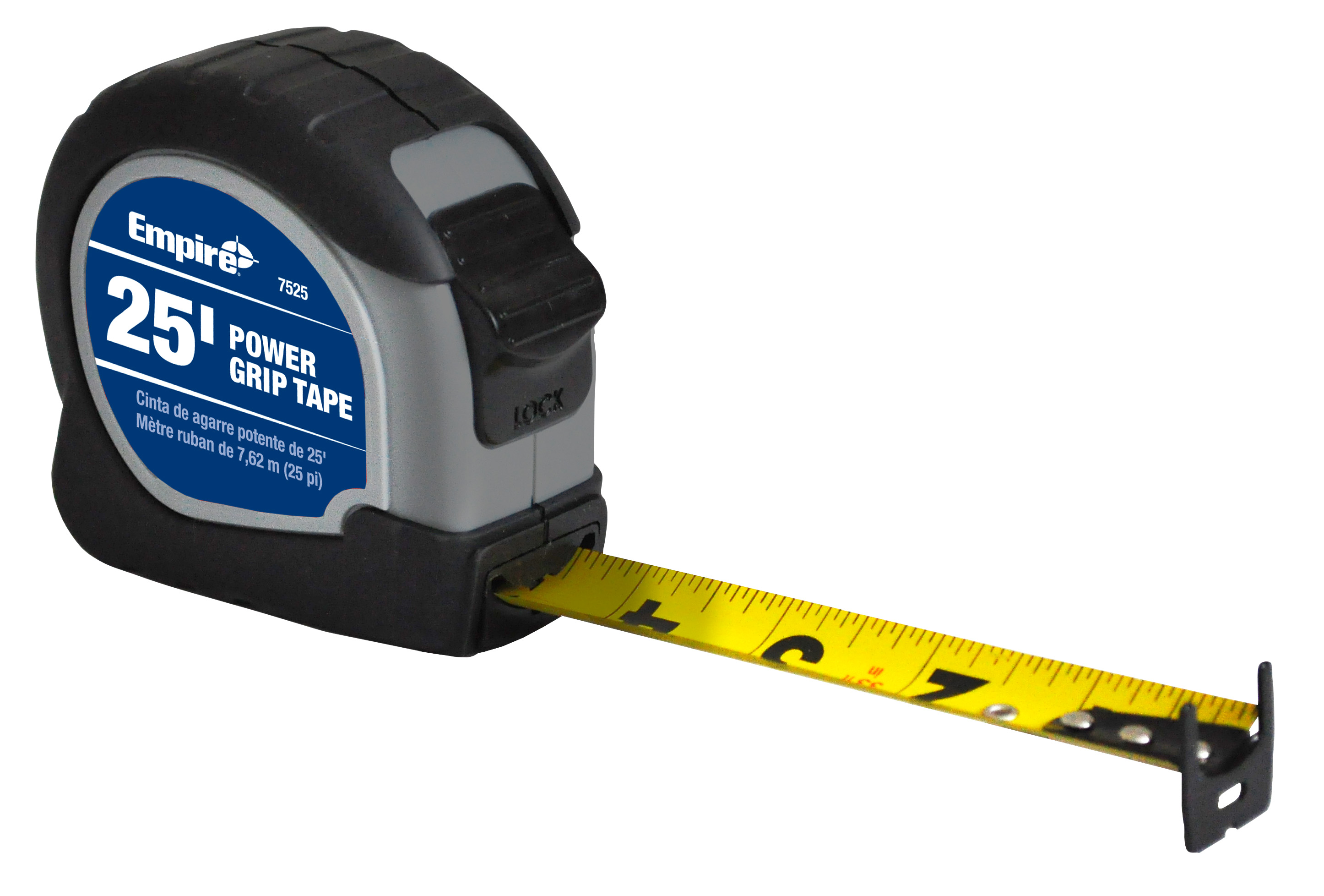 Milwaukee® 7525 Powergrip Measuring Tape With Belt Clip, 25 ft L x 1 in W Blade, Steel Blade, Imperial Measuring System, 1/16 in Graduation