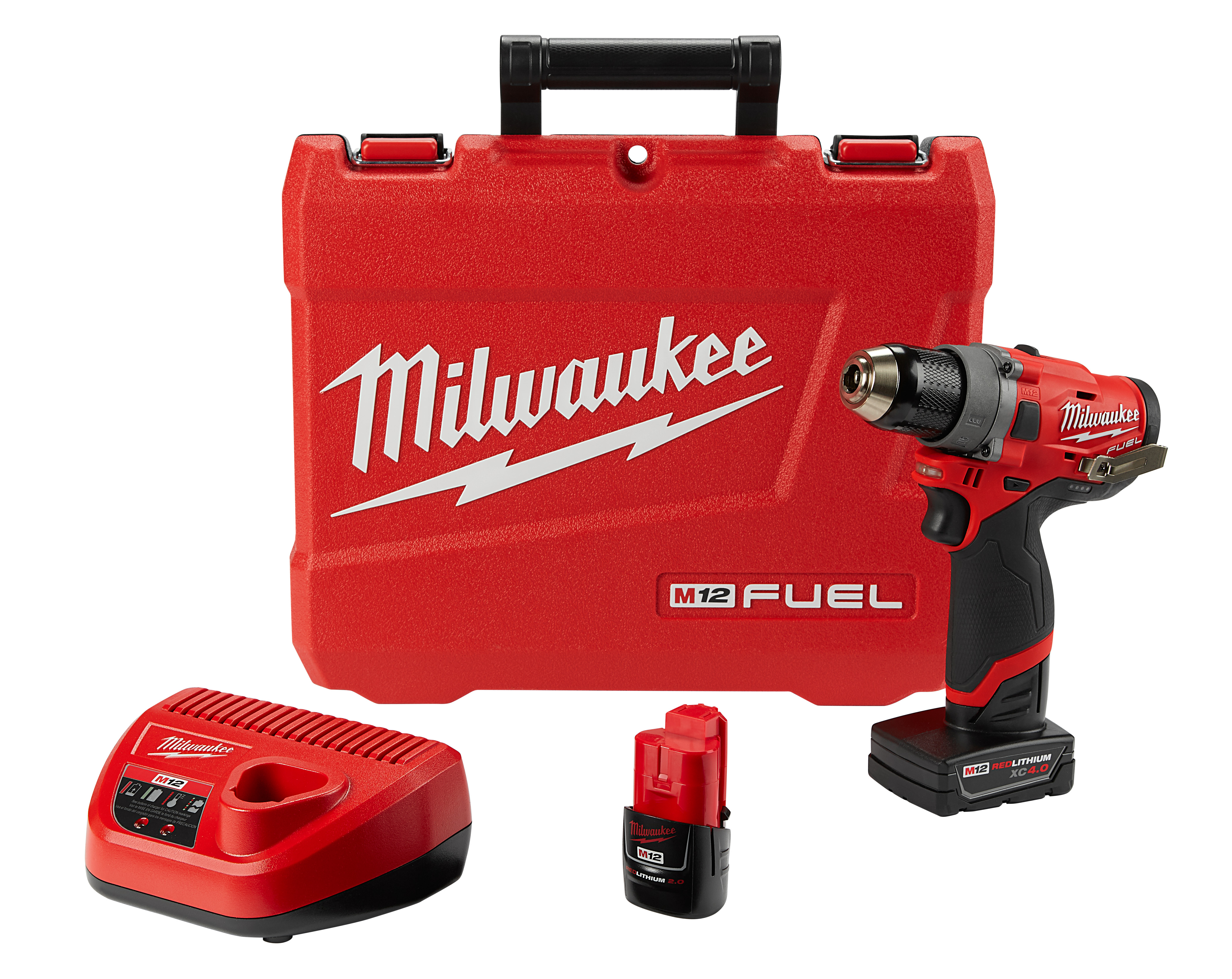 Milwaukee® M12™ FUEL™ 2503-22 Cordless Drill Driver Kit, 1/2 in Chuck, 12 VAC, 1700 rpm No-Load, 6.6 in OAL, Lithium-Ion Battery