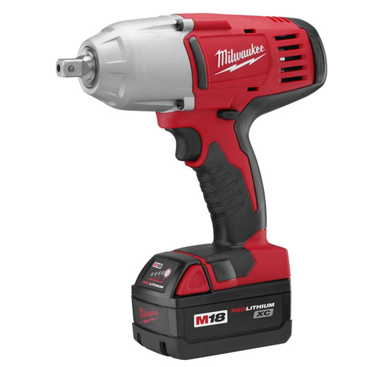 Milwaukee® M18™ 2662-22 High Torque Cordless Impact Wrench Kit With Pin Detent, 1/2 in Square Drive, 0 to 2200 bpm, 450 ft-lb Torque, 18 VDC, 8-7/8 in OAL
