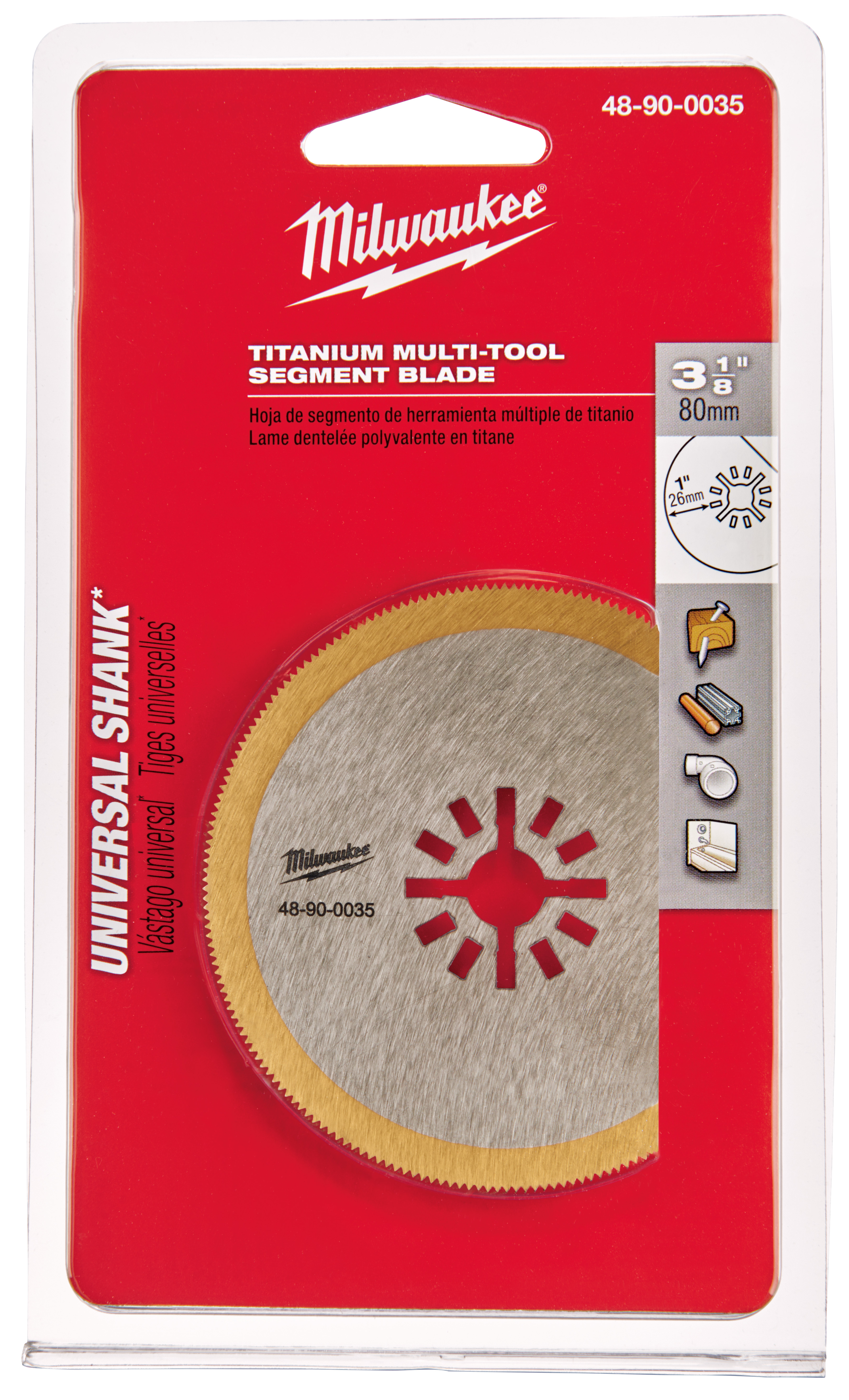 Milwaukee® 48-90-0035 Multi-Tool Blade, For Use With Oscillating Tool, 3-1/8 in Cutting Dia, High Carbon Steel/Titanium Segment