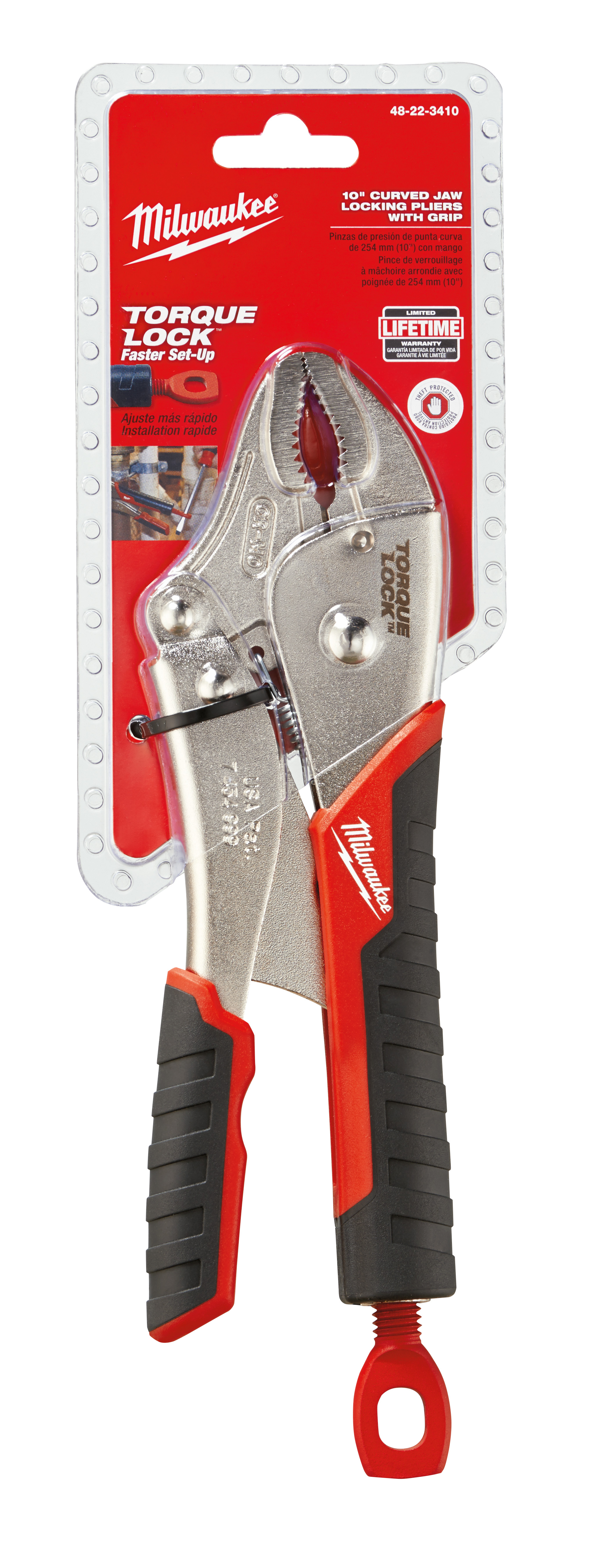 Milwaukee® TORQUE LOCK™ 48-22-3410 1-Handed Lever Locking Plier, 2 in Nominal, 1-5/32 in L x 29/64 in W x 29/64 in THK Alloy Steel Curved Jaw, 10 in OAL