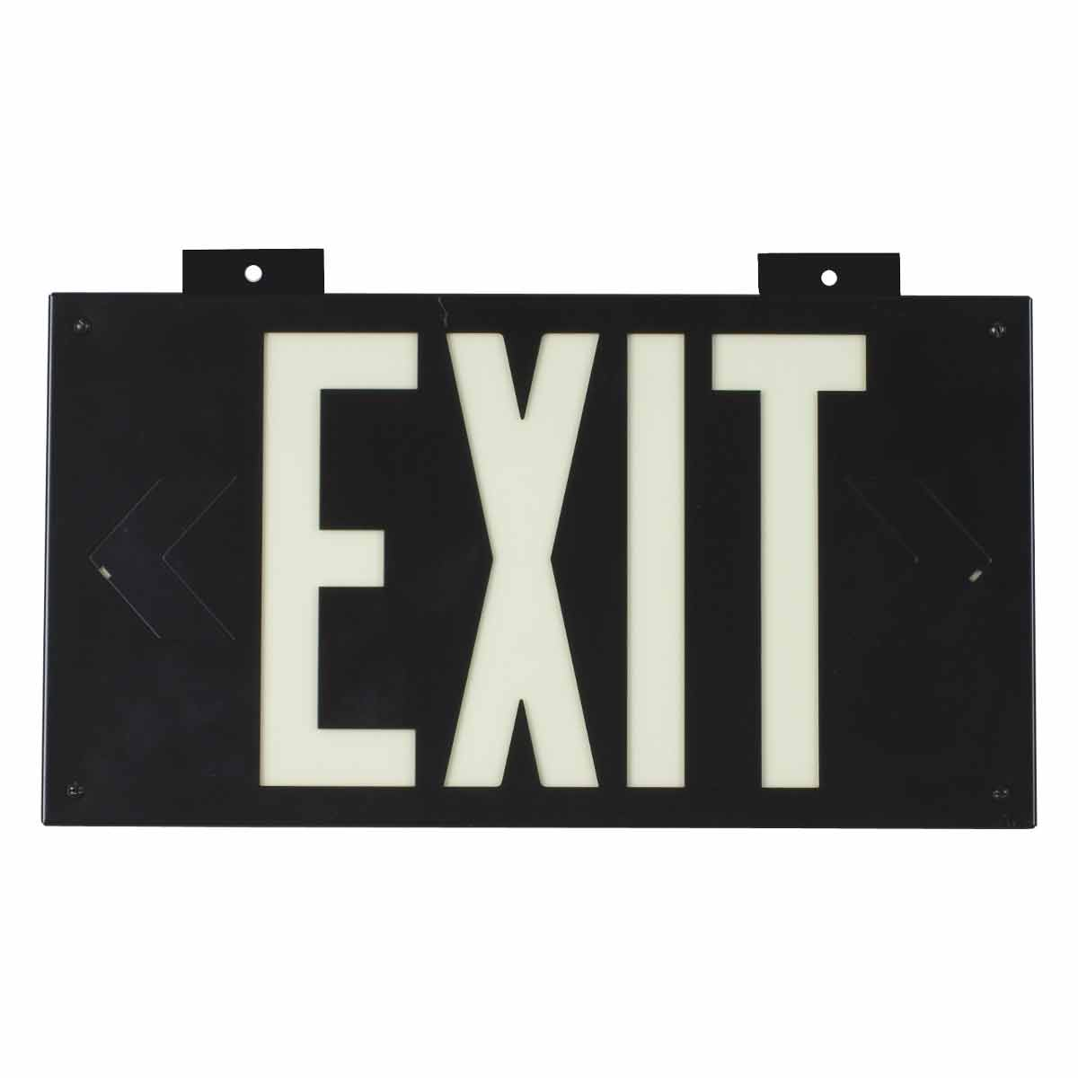 Brady® 38097B Rectangle Exit Sign, No Header, 8-1/4 in H x 15-1/4 in W, White on Black, B-355 Glow-In-The-Dark Plastic, Bracket Mounting