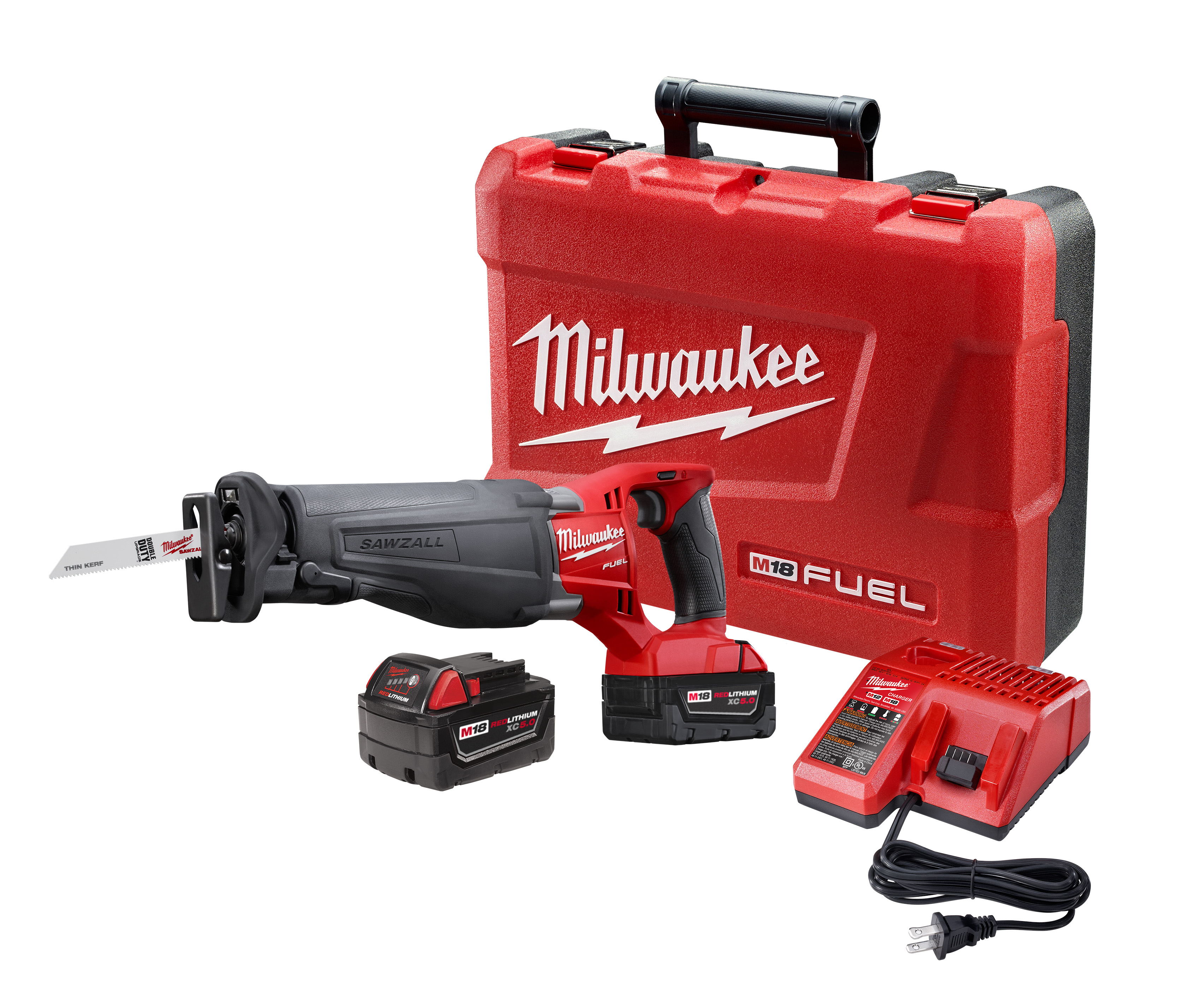 Milwaukee® M18™ FUEL™ SAWZALL™ 2720-22 Adjustable Shoe Cordless Reciprocating Saw Kit, 1-1/8 in L Stroke, 0 to 3000 spm, Straight Cut, 18 VDC, 18-1/2 in OAL