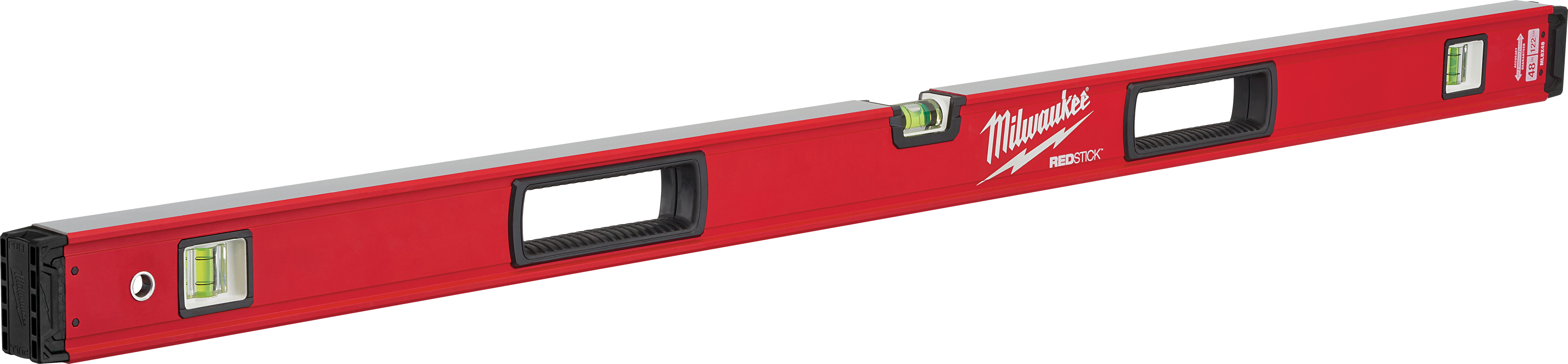 Milwaukee® REDSTICK™ MLBX48 Box Level, 48 in L, 3 Vials, Aluminum, (1) Level, (2) Plumb Vial Position, 0.0005 in/in Accuracy