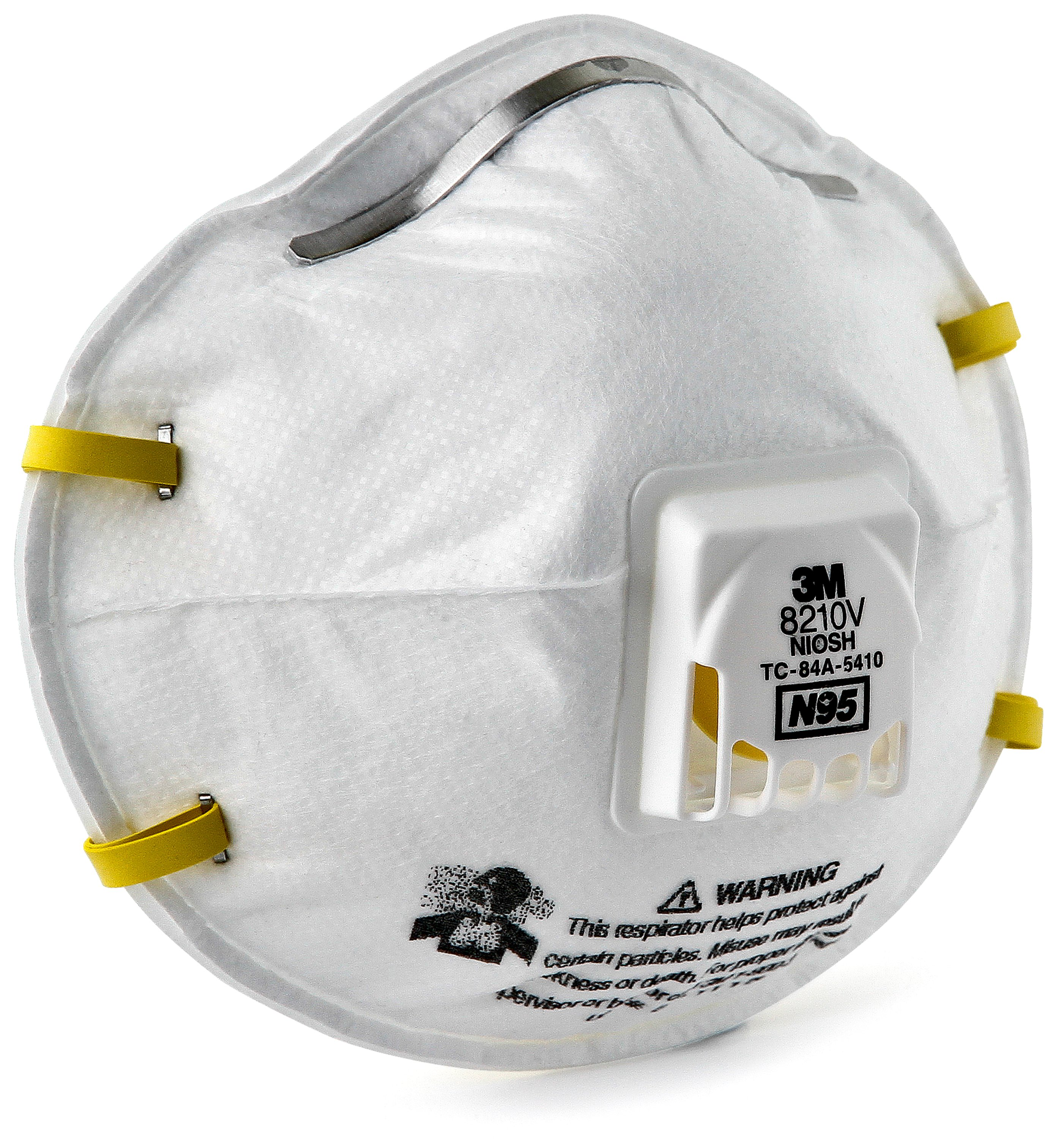 3M™ 8210V Cup Style Standard Disposable Particulate Respirator, Resists: Non-Oil Based Particles