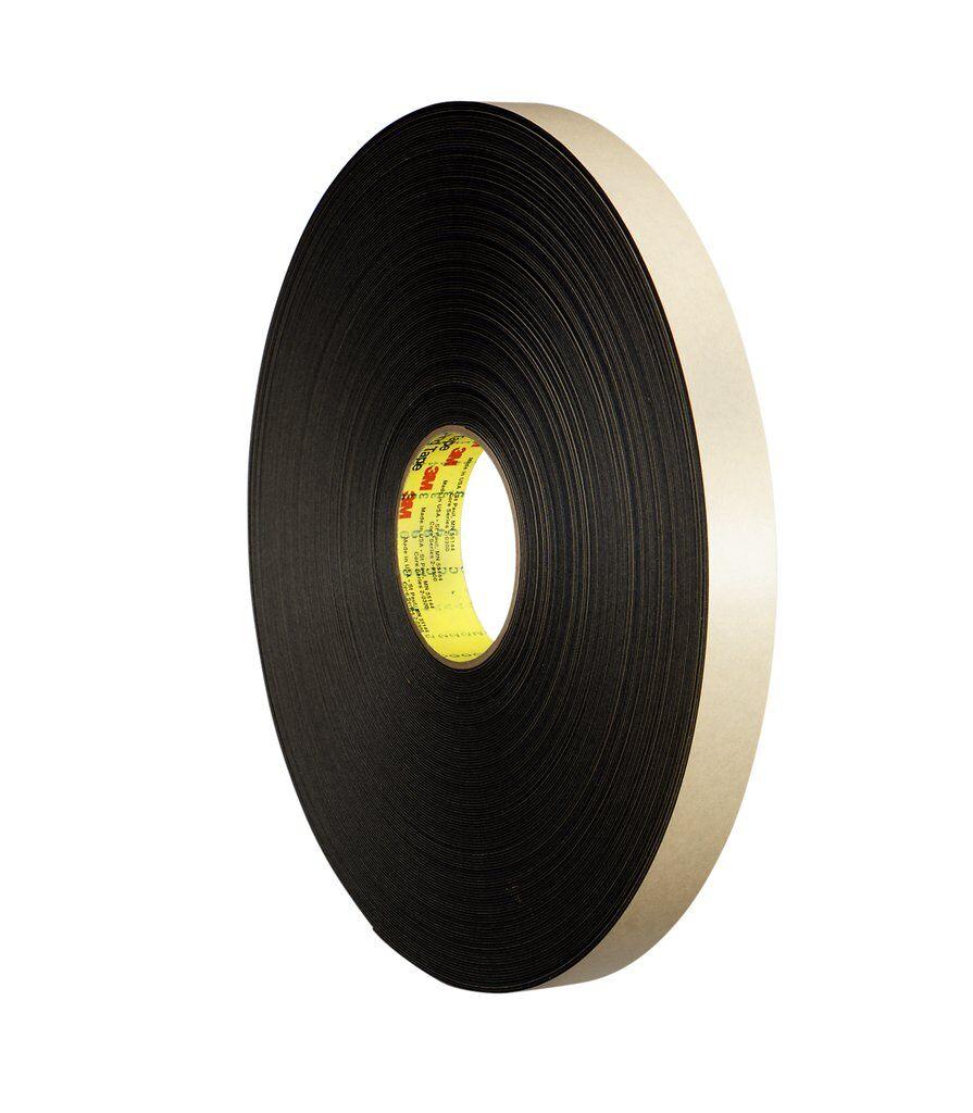 3M™ 4492B Double Coated Tape, 72 yd L x 1 in W, 31 mil THK, Acrylic Adhesive, Polyethylene Foam Backing, Black