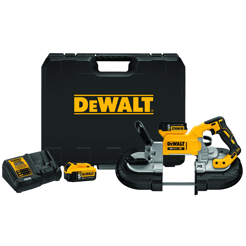 DeWALT® 20V MAX* MATRIX™ DCS374P2 XR™ Brushless Deep Cut Portable Cordless Band Saw Kit, 5 x 4-3/4 in Cutting, 44-7/8 in L Blade, 20 VDC, 5 Ah Lithium-Ion Battery