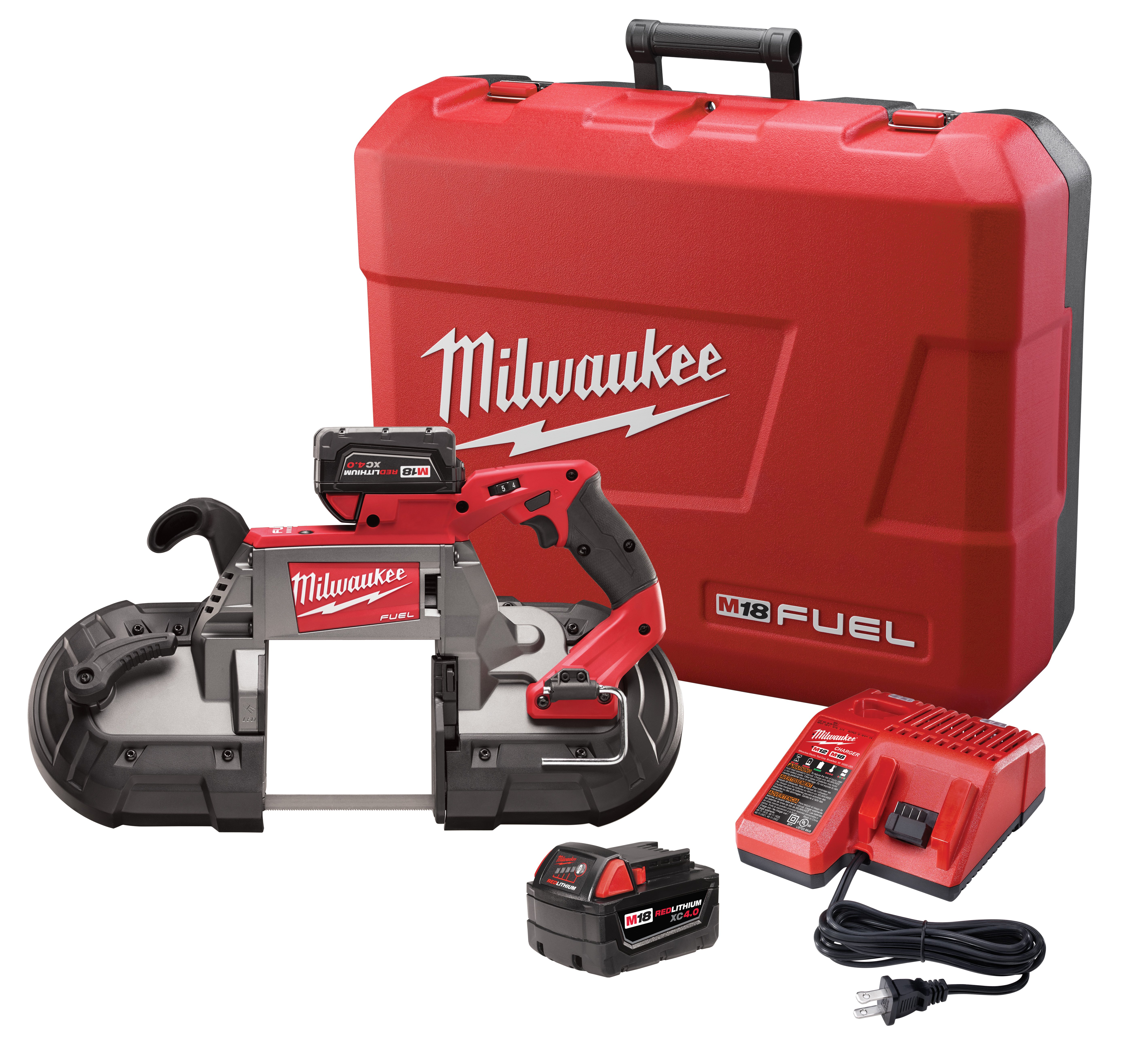 Milwaukee® M18 FUEL™ 2729-22 Cordless Band Saw Kit, 5 in Cutting, 44.875 in L x 0.5 in W x 0.02 in THK Blade, 18 VDC, 5 Ah Lithium-Ion Battery