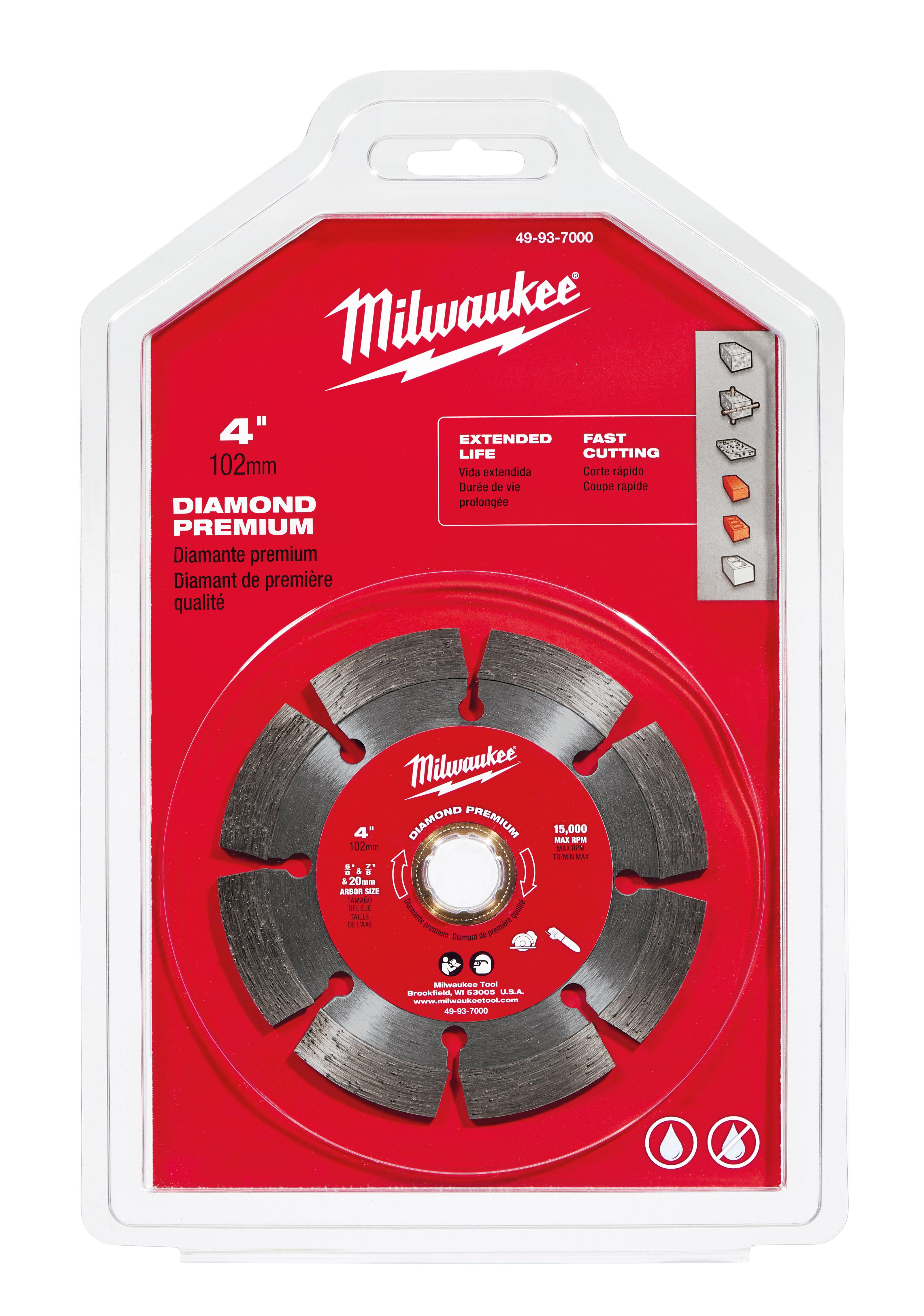 Milwaukee® 49-93-7000 Premium Segmented Circular Diamond Saw Blade, 4 in Dia Blade, 7/8 in, 20 mm, 5/8 in Arbor/Shank, Dry/Wet Cutting