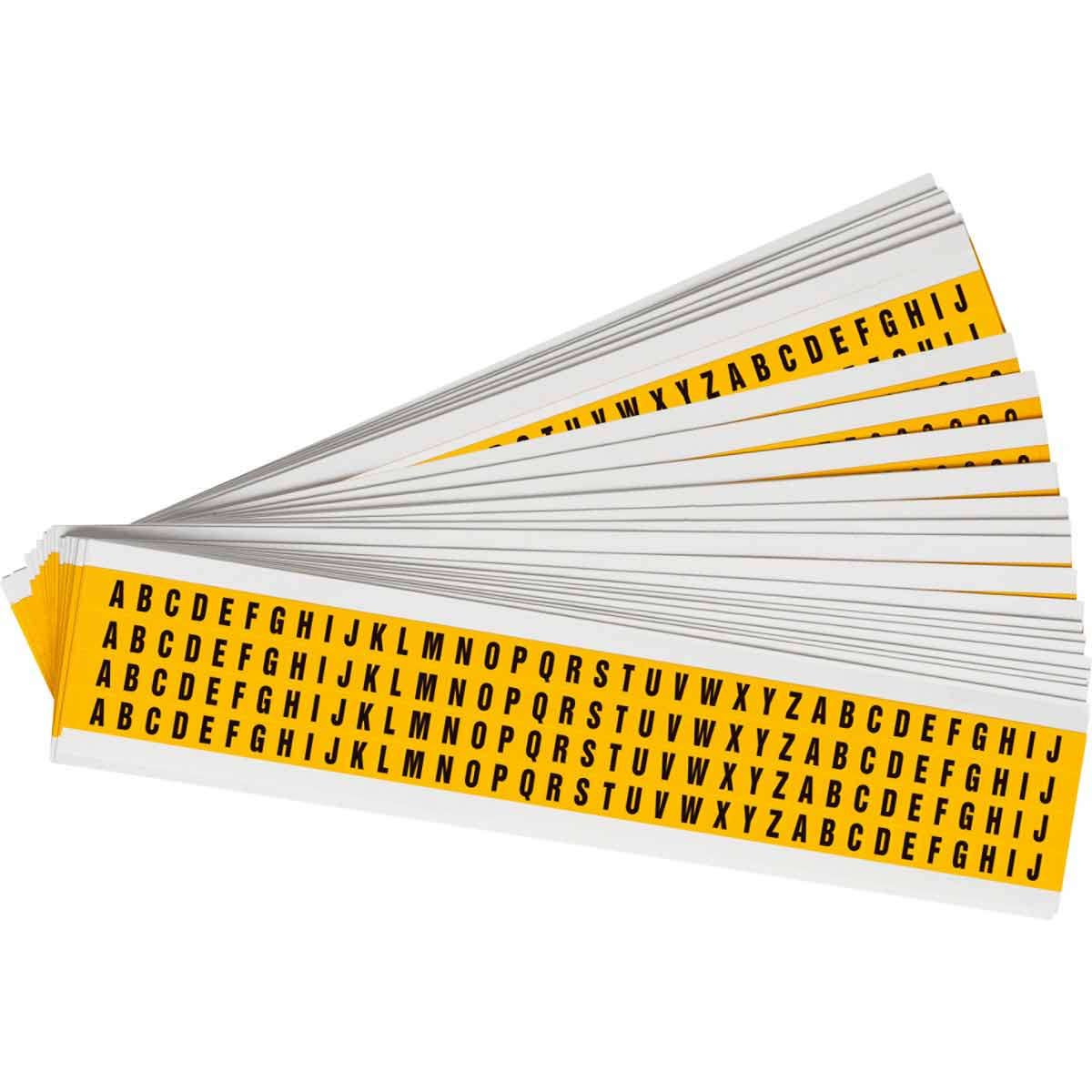 Brady® 94738 1500 Consecutive Non-Illuminated Non-Reflective Standard Letter Label Kit, 1/4 in H Black A to Z Character, Yellow Background, B-946 Vinyl