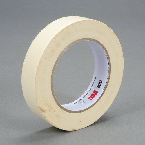 3M™ 200-24mm Masking Tape, 55 m L x 24 mm W, 4.4 mil THK, Paper, Rubber Adhesive, Crepe Paper Backing