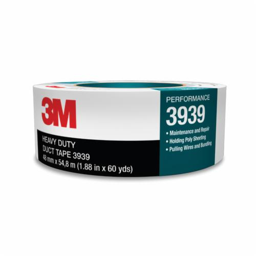 3M™ 3939-48mmx55m Heavy Duty Duct Tape, 54.8 m L x 48 mm W, 8.6 mil THK, Rubber Adhesive, Polyethylene Over Cloth Scrim Backing, Silver