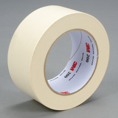 3M™ 200-48mm Masking Tape, 55 m L x 48 mm W, 4.4 mil THK, Paper, Rubber Adhesive, Crepe Paper Backing