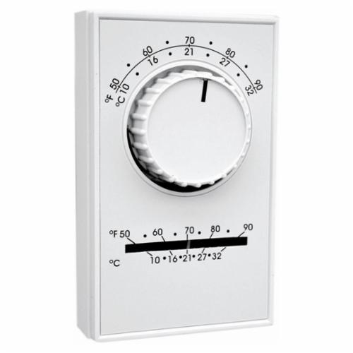 TPI ET Series Line Voltage Thermostat, 1-Pole Cool Only Thermostat, 50 to 90 deg F Control, 2 to 4 deg F Differential, SPST Switch