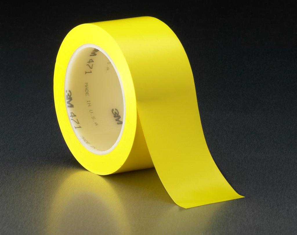 "3M™ 471-Yellow-1-1/2""x36yd-Bu High Performance Vinyl Tape, 36 yd L x 1-1/2 in W, 5.2 mil THK, Rubber Adhesive, Vinyl Backing, Yellow"