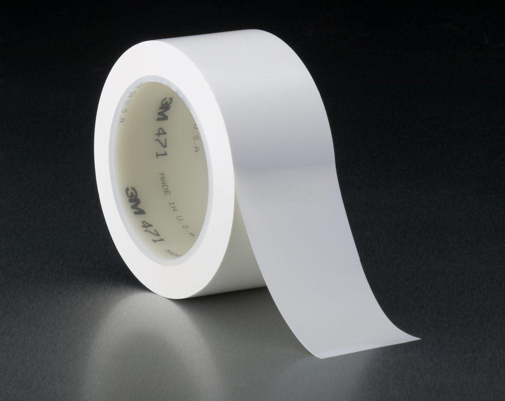 "3M™ 471-White-1/4""x36yd-Bulk High Performance Vinyl Tape, 36 yd L x 1/4 in W, 5.2 mil THK, Rubber Adhesive, Vinyl Backing, White"