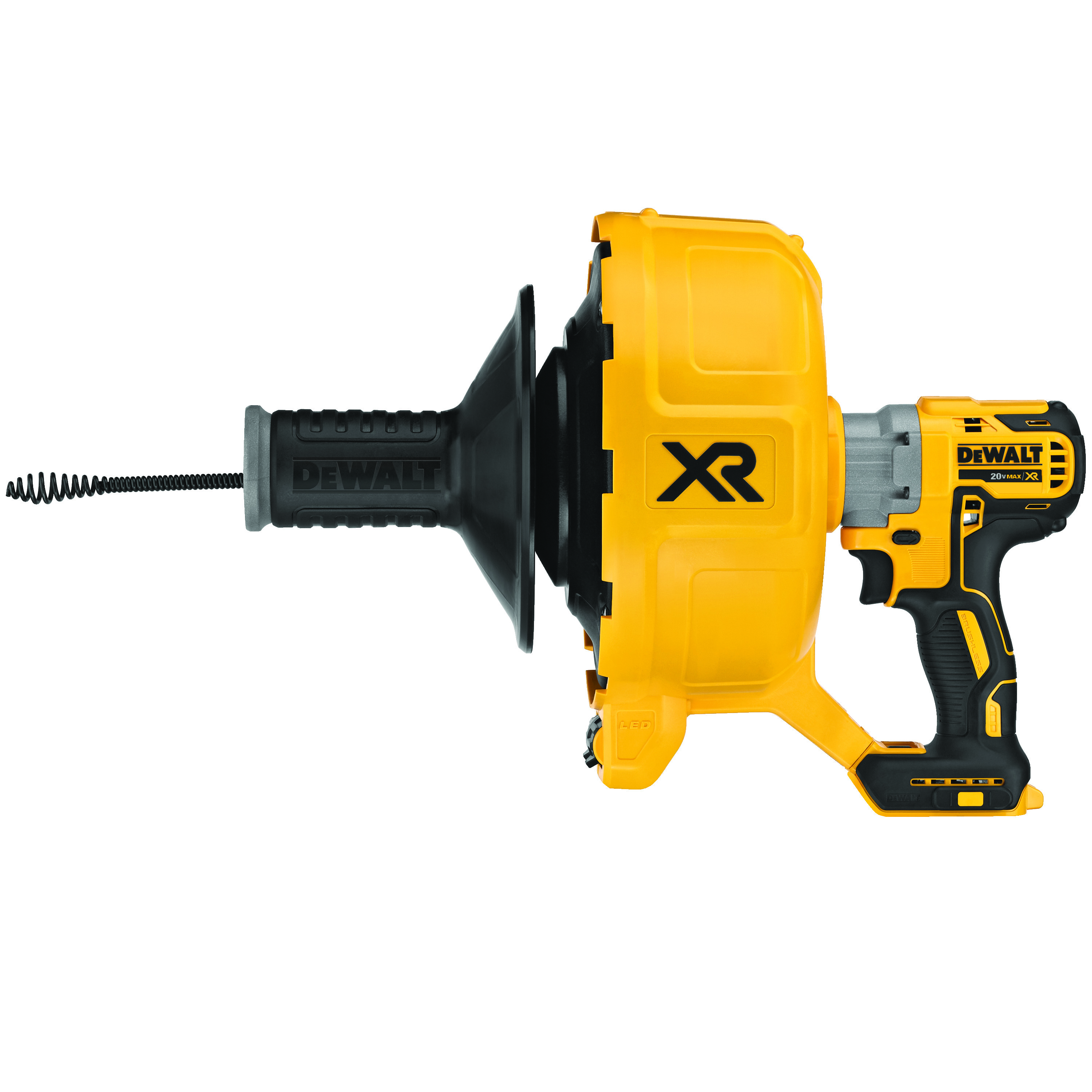 DeWALT® XR® DCD200B Brushless Cordless Drain Snake Tool, 3/8 to 3 in Drain Line, 50 ft Max Run, 20 VDC