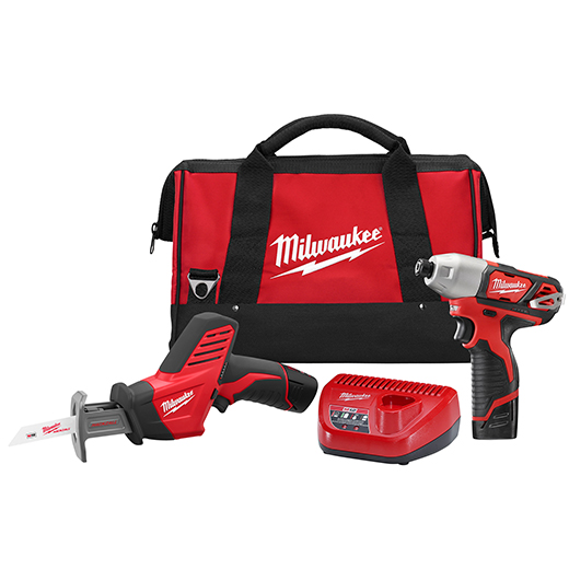 Milwaukee® M12™ 2491-22 Cordless Combination Kit, Tools: Impact Driver, Reciprocating Saw, 12 VDC, 1.5 Ah Lithium-Ion Battery, 1/4 in Hex Shank, 850 in-lb Impact Driver, 5.2 in L x 19.2 in W x 10.83 in H