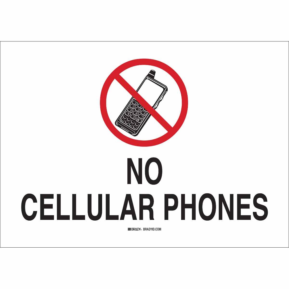 Brady® 95503 Rectangular No Cellular Sign, 10 in H x 14 in W, Black/Red on White, B-401 Polystyrene, Corner Holes Mount