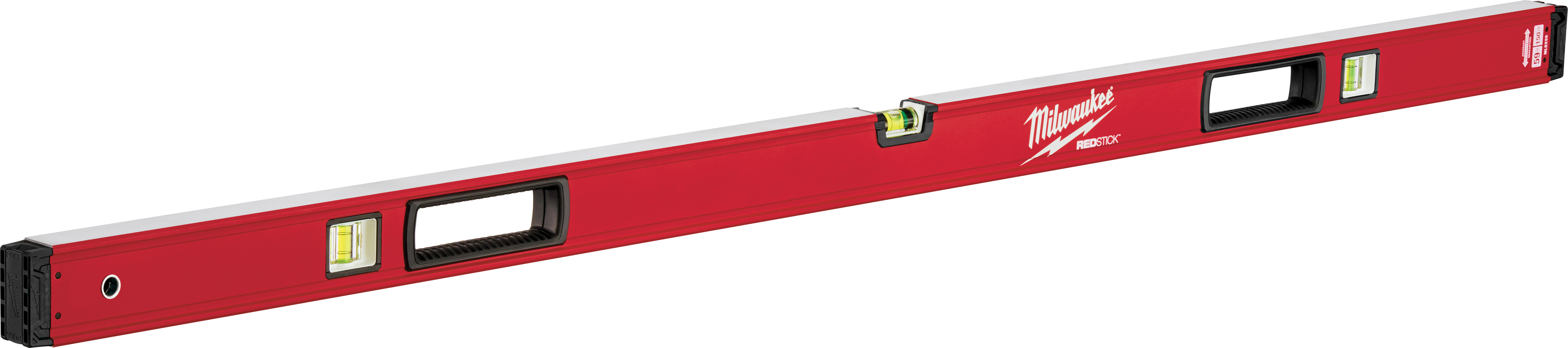 Milwaukee® REDSTICK™ MLBX59 Box Level, 59 in L, 3 Vials, Aluminum, (1) Level, (2) Plumb Vial Position, 0.0005 in/in Accuracy