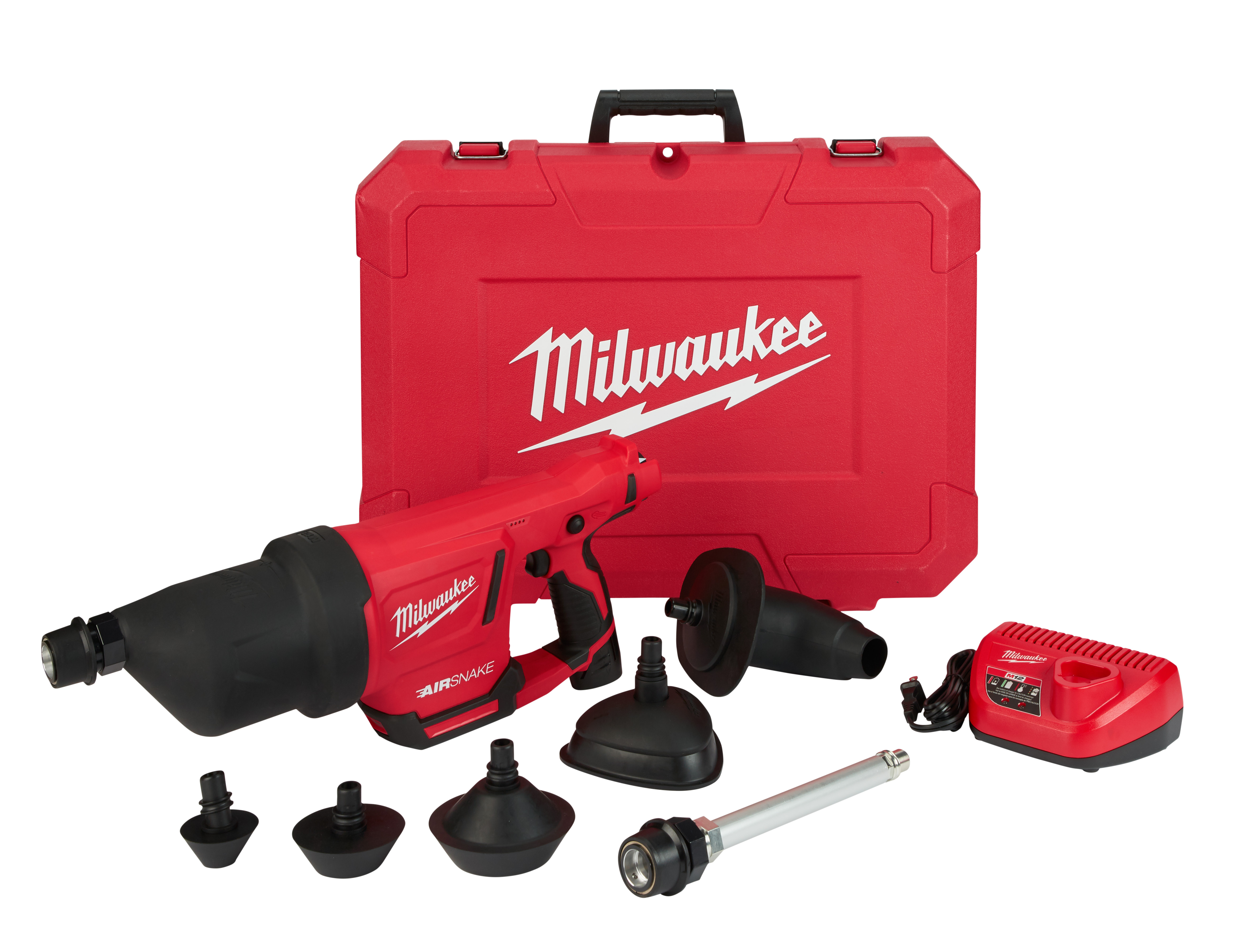 Milwaukee® M12™ AIRSNAKE™ 2572B-21 Cordless Drain Cleaning Air Gun Kit, 1 to 4 in Drain Line, 35 ft Max Run, 12 VDC, Plastic Housing