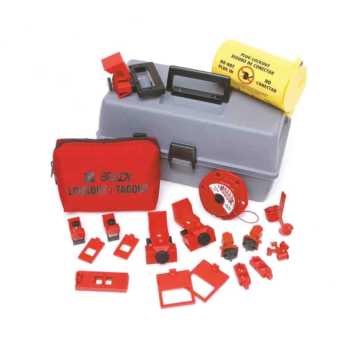 Brady® 99310 Electrical Risk Portable Lockout Kit, Filled, 19 Pieces, 7-1/2 in H x 14 in W x 8 in D