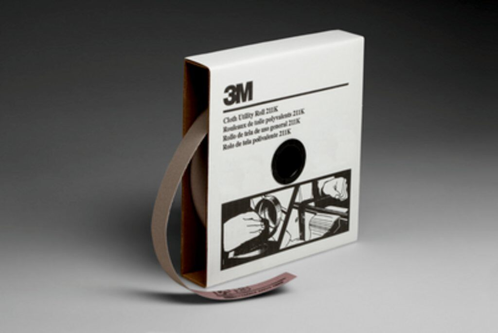 3M™ 05007 211K Lightweight Utility Closed Coated Abrasive Roll, 50 yd L x 1 in W, 150 Grit, Very Fine Grade, Aluminum Oxide Abrasive, Cloth Backing