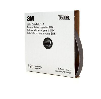 3M™ 05008 211K Lightweight Utility Closed Coated Abrasive Roll, 50 yd L x 1 in W, 120 Grit, Fine Grade, Aluminum Oxide Abrasive, Cloth Backing