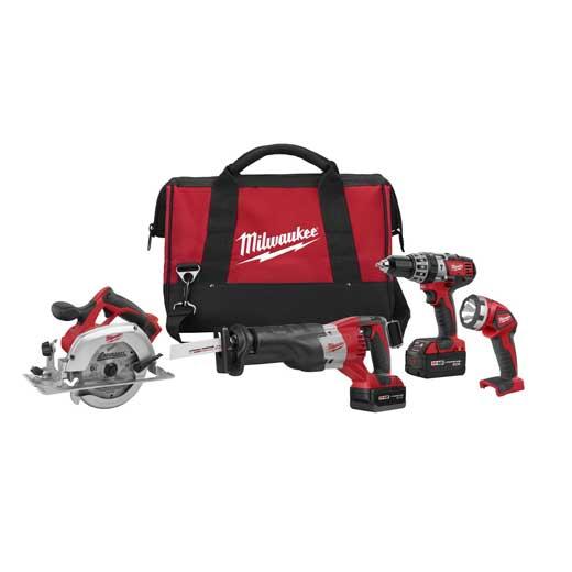 Milwaukee® M18™ 2694-24 Cordless Combination Kit, Tools: Circular Saw, Hammer Drill, Reciprocating Saw, 18 VDC, 3 Ah Lithium-Ion