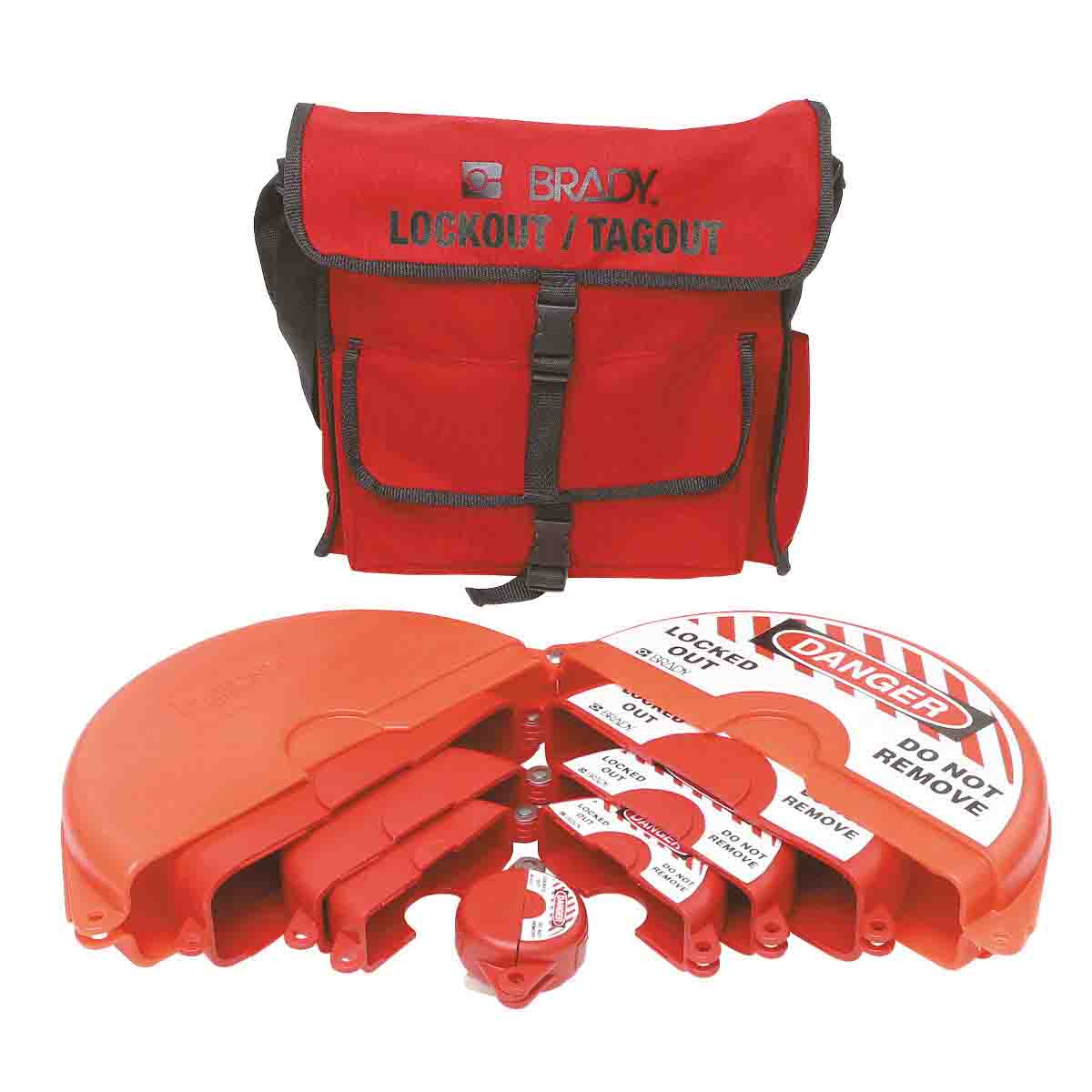 Brady® 99676 Portable Lockout Satchel Kit, Filled, 6 Pieces, 14 in H x 4 in W, Language: English