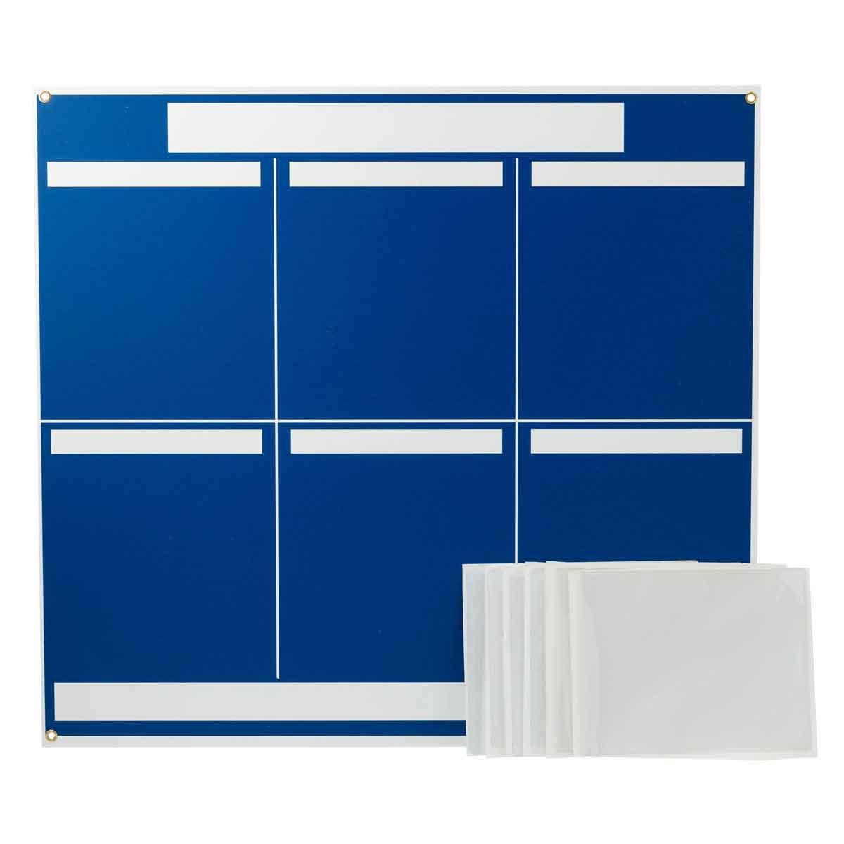 Brady® 114613 6-Panel Information Center Lean Communication Board, 34-1/4 in H, White on Blue, Rectangle Shape, Polystyrene
