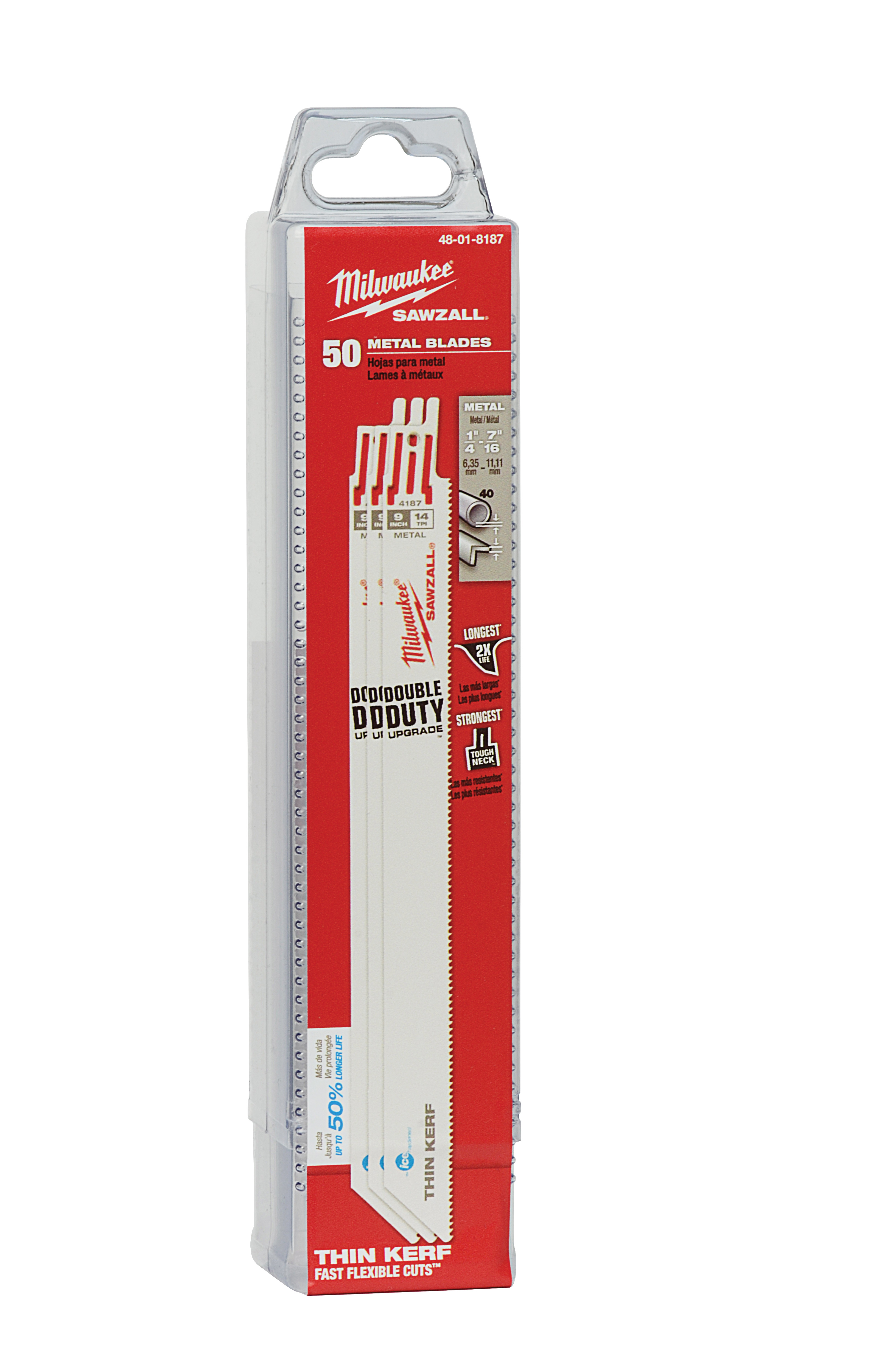 Milwaukee® SAWZALL® Ice Hardened™ 48-01-8187 Double Duty Straight Back Thin Kerf Reciprocating Saw Blade, 9 in L x 3/4 in W, 14 TPI, Bi-Metal Body, Universal/Toothed Edge Tang
